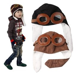 Wholesale Kids Pilot Beanies - Winter Baby Earflap Toddler Boy Girl Kids Pilot Aviator Cap Warm Soft Beanie Hat kids Warm Unisex Beanie KKA2513