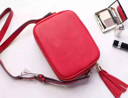 Wholesale Satchel Genuine - red black many colors G Soho real genuien Leather Disco Bag soft cowhide 308364 Tassel BAG cross body Satchel women handbag small purse
