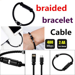 Wholesale Cellphone Hand - leather braided charging line bracelet hand-woven data line For Samsung S6 S8 note8 Blackberry HTC Android cellphone