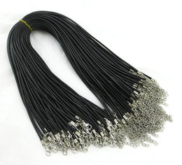 Wholesale Leather Chain Bracelet Wholesale - 100pcs 1.5mm Black Wax Leather Snake chains bracelets Beading Cord String Rope Wire 45cm+5cm Extender bracelet ChainLobster Clasp DIY