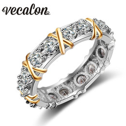 Wholesale yellow gold wedding rings set - Vecalon 3 colors Gem Simulated diamond Cz Engagement Wedding Band ring for Women 10KT White Yellow Gold Filled Female ring
