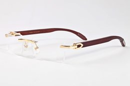 Wholesale mens designer eye glasses - sell well new style mens brand outdoor sports wooden sunglasses brands fashion designer classic rimless buffalo horn glasses 2017 with box