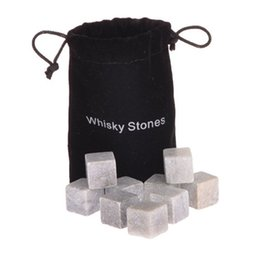 Wholesale Bulk Whiskey Stones - Wholesale-New Arrival 8Pcs lot Whiskey Stones Rocks Glacier Cold Ice Cubes Soapstone Bulk Wine Beer Drink Cooler Bar With Velvet Bag