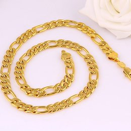 Wholesale Thick Figaro Chain - Thick Heavy Figaro Chain 24k Yellow Gold Filled Mens Necklace Chain 12mm