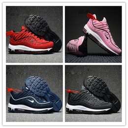 Wholesale Ups Nyc - 2017 High Quality Maxes 98 KPU NaVY SNAKESKIN Navy Blue Running Shoes Men's Varsity Red NYC Black Trainers Sneakers Size 36-47