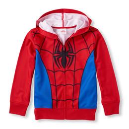 Wholesale Spiderman Sweatshirt - 4-14Y Long Sleeve Spiderman Full-Zip Hoodie sweatshirt boys hoodies manteau enfant garcon boy coat winter jacket moda infantil free shipping
