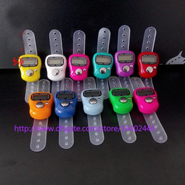 Wholesale Free Counters - 200pcs lot Mini Hand Hold Handed Band Tally Counter LCD Digital Screen Finger Ring Electronic Head Count Tasbeeh Tasbih DHL free shipping
