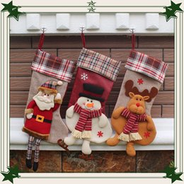 Wholesale Decoration For Xmas Stocking - Christmas Xmas decor Ornaments stockings party decorations Santa Claus Christmas stocking candy socks Christmas gifts bag For children kids