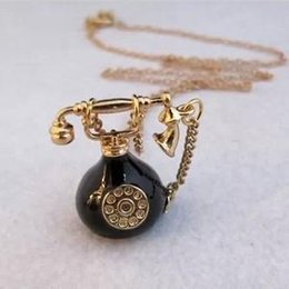 Wholesale Vintage Ship Telephone - Wholesale-N167 Free Shipping,Vintage Alloy Telephone Pendant Necklaces Sweater Chains Wholesale