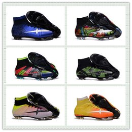 Wholesale Cr7 Cleat Box - Men European Cup Camo Pack Mercurial Superfly IV CR7 FG Ronaldo Football Shoes What The Mercurial Soccer Cleats Boots With Box Size US6.5-11