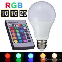 Wholesale Led Bulb Rgb E27 15w - E27 RGB LED light bulb 10W 15W 20W AC85-265V Remote Control 16 Color Change Lampada LED Global Light Luz A65 A70 A80