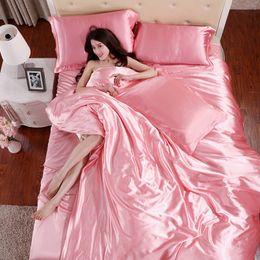 Wholesale Pure Silk Duvet Cover - 100% pure satin silk bedding set,Home Textile Plain coloured silky duvet cover set quilt cover flat sheet pillowcases