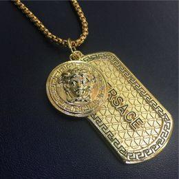 Wholesale Gold Plated Necklace Tags - 2017 New fashion Punk medusa Gold Silver hip hop neckalce Metal Maxi Pistol dog tag Necklace & Pendants Hip Hop Jewelry for Men hot