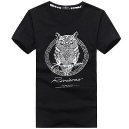 Wholesale Cool Summer Shorts - 2016 Summer Men's Cotton T-Shirt 3D Owl Pattern Printed Tops Fashion Cool Short Sleeve Cotton Causul Men's Tee Shirt