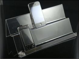 Wholesale Il supporto mobile acrilico libero del supporto di mostra del telefono cellulare di trasporto tormenta il doppio scaffale lungo di strati