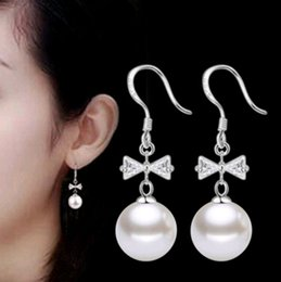 Wholesale Earrings Bowknot - Upscale boutique fashion accessories wholesale Korean version of zircon bowknot pearl earring silver alloy earrings