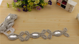 Wholesale Bridal Rhinestone Beaded Trim - High Quality 2017 Rhinestone Decoration Chain Trims Bridal Beaded Trimming Crystal Applique For Fashion Dresses Costume Sewing Trims
