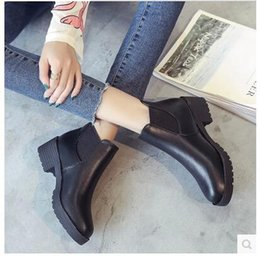 Wholesale British Shoes Women - Martin boots women 's British wind bare boots female rough with Chelsea women' s boots spring and autumn Korean wild shoes
