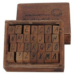 Wholesale wooden alphabet stamp - Wholesale-New Arrival Capital Letter Alphabet Stamp Box Hand Writing Stamp Antique Wooden Rubber Stamp Box