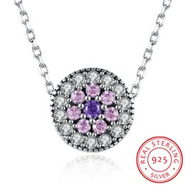 Wholesale Womens Necklace Free Shipping - Free Shipping Womens Necklaces Genuine 925 Sterling Silver Zircon Pendant Necklaces Round Design Women's Fashions Jewelry SVN126