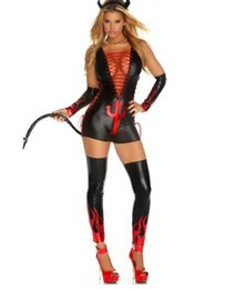 Wholesale Black Vinyl Catsuit - Wholesale-Sexy Vinyl Leather Halloween Costume 2016 Woman Sexy Fantasy Devil Jumpsuit Cosplay Costume M, L W84439