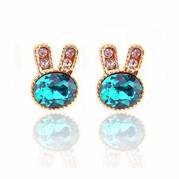 Wholesale Gold Plated Jewelry Supplies - Korean small wholesale jewelry exquisite diamond earrings blue gem earrings earrings to spread the supply of rabbit