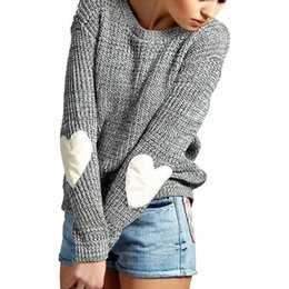 Wholesale Women S Sweater Hearts - Wholesale- 2017 New Women Knitted Sweater Heart Pattern Sleeve Cardigan Knitwear 2017 New Lady Costume Outfit