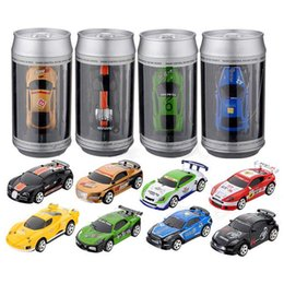 Wholesale Car Remote Control Frequency - 24 pcs Mini 1:58 Coke Can RC Car Radio Remote Control Micro Racing Car 4 Frequencies