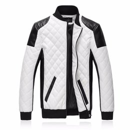 Wholesale Black Leather Bomber Jackets - New Brand Slim Men Bomber Jackets Casual Fashion Plaid PU Leather Jacket Men Jaqueta de couro Black White Plus Size 5XL 6XL