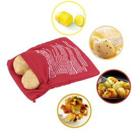 Wholesale Selling Eco Bags - Potato Bag Red Washable Cooker Bag Baked Potato Microwave Cooking Potato Quick Fast (cooks 4 potatoes at once) hot selling