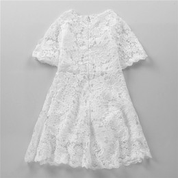 Wholesale 13 Years Kids Clothes - Littler Girls Lace Dress Pure White Dresses Boutique Clothing Kids Lovely Half Sleeve Dress for 3-13 years old