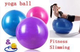 Wholesale 65cm Yoga Ball - Wholesale-Free Shipping International Standard 65cm Gym Ball Fitness Pilates Aerobics Yoga Ball Slimming Exercise Ball with Free Pump