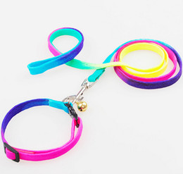Wholesale cool basic - Rainbow Color Cool&Fashion Nylon Small Dog Pet Collar&Leash With Bell Top Quality Small Dog Training Leash Mix Order 20PCS LOT