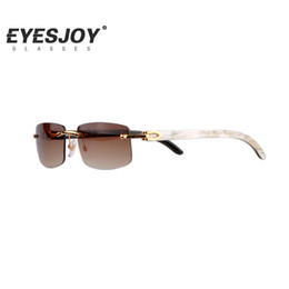 Wholesale Sunglasses Lens - Rimless Luxury Sun Glasses Buffalo Horn Glasses Men Women Sunglasses for Brand Designer Best Quality with Box CT3524012