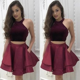 Wholesale Halter Dress Pockets - Burgundy Two Pieces Short Homecoming Dresses 2017 Sleeveless Halter A Line Satin Sweet 15 Cocktail Party Gowns With Pocket Cheap