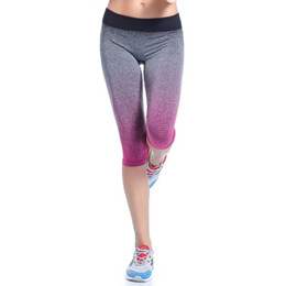 cropped blue leggings Promo Codes - Wholesale-Women\'s Fitness Sport Pants Stretch Gym Cropped Leggings Athletic Trousers