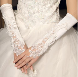 Wholesale Wholesale Satin Beads - Fingerless Wedding Gloves Beige Beaded For Bride Elbow Length With Appliques Beaded Ladies Dress Gowns Glove Wedding Accessories
