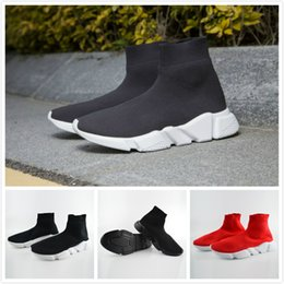 Wholesale High Top Slip Shoes - Speed Trainer Runner Shoes Speed High Slip on Sneakers Stretch Knit High Top Sneakers With Black Textured Sole Top Shoes With Original Box
