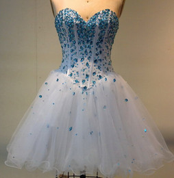 Wholesale Lovely Sexy Gowns - Lovely Ball Gown Sweetheart Beaded Tulle Short Homecoming Dress 2018 Party Dress Lace Up Back Real Photo