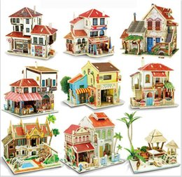 Wholesale Paper Toy Puzzle 3d - 60pcs  3D Stereo Puzzle Paper World Style Wooden Three - Dimensional Puzzle DIY Model Children's Puzzle DIY Handmade Toys