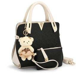Wholesale Bear Clutch Bag - Wholesale-2016 new casual Embossed handbag designer handbags high quality women messenger bags lady shoulder bag 2 bags set with bear toy