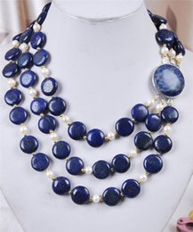 Wholesale Lapis Lazuli Pearl Necklace - Natural 3 Rows White Akoya Cultured Pearl & Coin Lapis Lazuli Necklace 18-20""