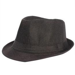 Atacado-verão mulheres homens aba larga chapéus de sol Unisex Fedora Panamá  Trilby chapéu de palha Sun Beach Cap viagem Sunhat Black Ribbon 81b912fdcd0