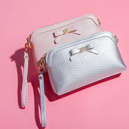 Wholesale Korea Fashion Evening - Bowknot Mini Shell Bags Tide Women's Shoulder Bag Handbag Oblique Korea Style Ladies Evening Bow Hand Bags