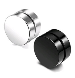 Wholesale mens studs black - Punk Fake Mens Stud Earrings Black Silver Stainless Steel Magnet Round Ear Clip for Men Mix size 6mm 10mm 12mm