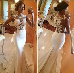 Wholesale Image Arts Photo - Real Image 2016 Evening Dresses Crew Neck Sheer Illusion Appliqued Lace Mermaid Court Train Vestidos Formal Party Dress Prom Gowns BO5688