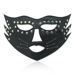 Wholesale Adult Masquerade Masks - Adult Product Sex Fun Game Toy Tease Flirt Leather Eye Mask Blindfold Sleep For Couples Halloween Masquerade Party
