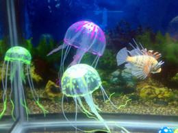 Decoración del tanque de medusas online-6 Opcional 8 cm * 20 cm Artificial Que brilla intensamente Medusas con Lechón Tanque de Peces Decoración Del Acuario Accesorios de Acuario Accesorios