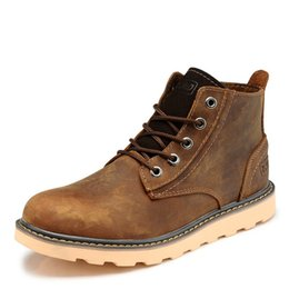 Wholesale Western Cotton Top - Brand crazy horse Leather Men outdoor high top work tooling safety shoe fashion winter outdoor flat western cowboy military Martin Boots,44