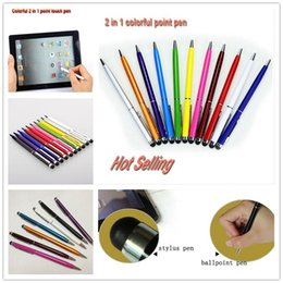 Wholesale Cell Phone Note3 - Universal 2 in 1 Capacitive Stylus Pen Touch Pen Ball-Pen For iPone 6G 6S 7 Samsung S7 Note3 Pc iPad Mobile Phone Cell phone